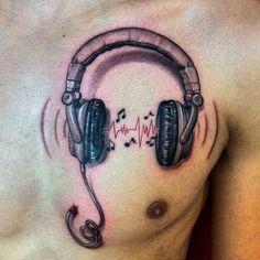 Headphone music tattoo