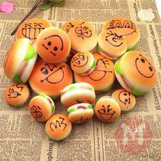 Squishy Toys 7cm Slow Raising Simalate Kawaii Emoji Hamburger Decor Phone Charm Straps
