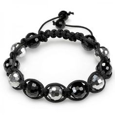 Share and get $20 off your order of $100 or more. Shamballa Bracelet Pave Mens Ladies Unisex Hip Hop Style 12 mm Eleven Crystal Ball Black & Silver Tone Faceted Ball Bead Adjustable - Dazzling Rock #https://www.pinterest.com/dazzlingrock/
