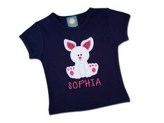 Girl's Easter Shirt with Easter Bunny and Embroidered Name by SunbeamRoad on Etsy