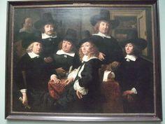 Zes regenten en de bode van het N.Z. Huiszittenhuis by Ferdinand Bol