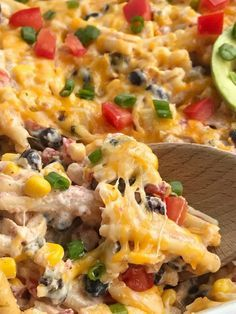 Fiesta chicken pasta casserole Save Print Prep time 15 mins Cook time 25 mins Total time 40 mins Fiesta chicken casserole is filled with chunks of chicken, tender pasta, corn, black beans, all in a one dish cheesy ch Mexican Dishes, Mexican Food Recipes, Healthy Recipes, Delicious Recipes, Top Recipes, Healthy Meals, Recipies, Cheesy Chicken Casserole, Pork Casserole