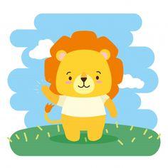 Cute animal cartoon, illustration | Free Vector #Freepik #vector #freelove #freenature #freecartoon #freeanimal Cartoon Cartoon, Lion Vector, Vector Art, Cute Lion, Baby Shower Invitation Templates, Animal 2, Baby Art, Pattern Drawing, Illustration
