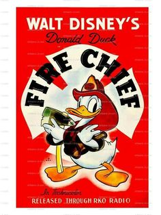 The Fire Chief Donald Duck Walt Disney 1940 Movie Poster by nukes
