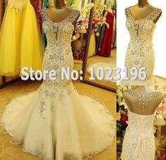 Mermaid White/Ivory lace V-Neck Rhineston Bridal Gown Wedding Dress Custom Size