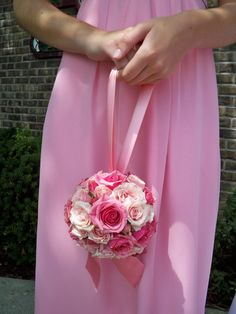 Kissing Balls {Pomanders}. This is a good size for your flower girl. Too pink for you, though.