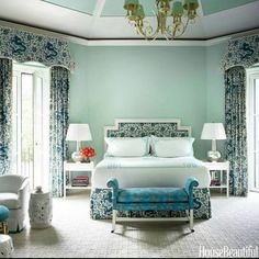 Love the colours. Cool & relaxing. The pale green would not normally be my first choice, but it looks very good.