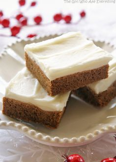 Gingerbread Cookie Bars - incredibly soft and chewy. Way easier than making gingerbread men. the-girl-who-ate-everything.com