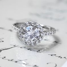 1.70 Cttw Certified D SI Round Cut Diamond Halo Engagement Ring 14K White Gold #SolitairewithAccents #Certified #Halo #Engagement #Ring #14K #White #Gold #christmas #Gift