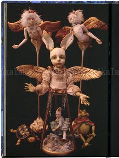 "The fairytale dolls of Mari Shimizu are collected in the book ""Miracle"" - siamese twins, hermaphrodites, and more freaks of nature! SIGNED inside the front cover in gold marker. Shimizu, Art Dolls, Japanese Art, Creepy Dolls, Sculpture Art, Toy Sculpture, Surrealism, Art, Ball Jointed Dolls"