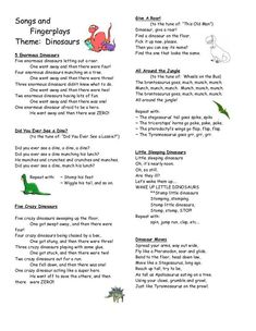 songs fingerplays dinosaurs 13 - Read more about fingerplays, dinosaurs and preschool. Dinosaur Songs For Preschool, Dinosaur Rhymes, Dinosaur Activities, Preschool Music, Dinosaur Poem, Preschool Fingerplays, Halloween Songs Preschool, Dinosaur Facts For Kids, Playgroup Activities