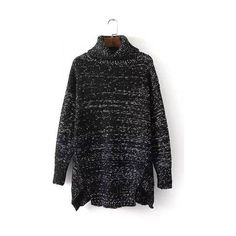 Black High Neck Split Hem Knit Sweater ($49) ❤ liked on Polyvore featuring tops, sweaters, knit sweater, black top, high neck top, relaxed fit tops and black knit top