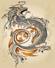 Dragon Tattoo Doodle Sketch Ic�ne Tribal Art Illustration Vecteur grunge photo
