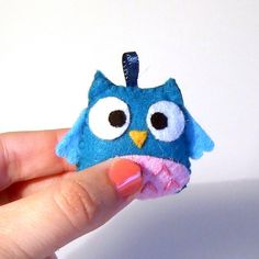 pink and blue happy owl keychain plushie  $6.20