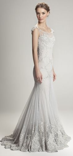 this in blush would be my dream dress! Gorgeous silver grey wedding gown with silver beaded detailing Bridesmaid Dresses Online, Bridal Dresses, Wedding Attire, Wedding Gowns, 1920s Wedding, Wedding Bride, Fall Wedding, Gray Weddings, Beautiful Gowns