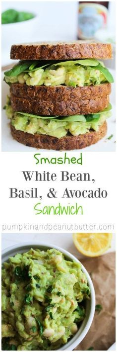 Smashed White Bean, Basil, & Avocado Sandwich. #vegan #glutenfree