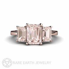 Morganite Engagement Ring Emerald Morganite Ring 3 by RareEarth