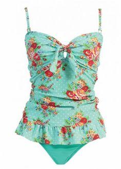 Mw Womens Long Retro Ruffle Tankini Top Bikini Swimsuit Swimwear Set,X-Large / 12,Green Dot Floral