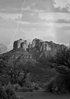 desert  lightning  cliff