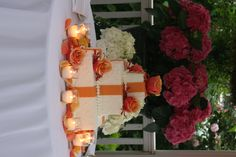 Pretty orange with a couple flowers. Simple and pretty