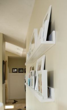 diy wall shelf, just nail gun 3 pieces of wood together. Total cost: $8.50 per shelf!