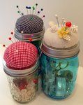Hampton Art - Jar Jewelry - Pin Cushion Lid Cover - Red Gingham