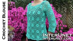 How to crochet a women's square motif lace blouse