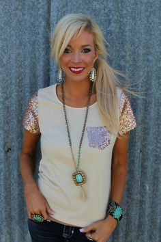 Beige Sequin Pocket Short Sleeve Top - The Lace Cactus Enter code at checkout for off your entire order. Rose Gold Shirt, Rose Gold Top, Prep Style, My Style, Spring Summer Fashion, Autumn Fashion, Pretty Outfits, Cute Outfits, Country Outfits