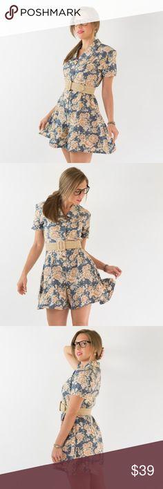 Vintage Floral Picnic Day Romper Super cute Floral romper. Belt not included.  c o l o r : muted blue, peach, olive  m a t e r i a l : rayon m a k e r : red cabin c o n d i t i o n : excellent     { m e a s u r e m e n t s }  taken with garment laying flat  s h o u l d e r : 17 inches (seam to seam) b u s t : 19 inches (armpit to armpit) w a i s t : 16 inches across h i p : 25 inches across (at widest point) t o r s o : 30.5 inches (shoulder to crotch) i n s e a m : 5.5 inches  l e n g t h…