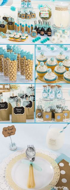 Give the royal treatment to the mother-in-waiting by hosting a little prince baby shower! Blue and gold favors, candies, bags and more are the makings of a regal spread that's perfect for heralding the upcoming arrival of little prince charming! Party City has all you need to create this princely party!