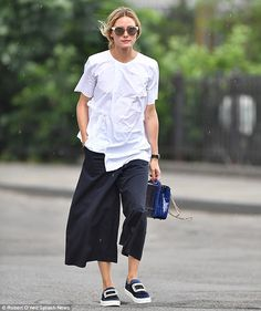 Olivia Palermo shows off style credentials in blouse and culottes for NYC stroll - July 2016 | Daily Mail Online