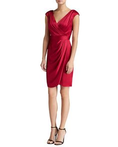 Liquid+Crepe+Draped+Dress+with+Faux-Wrap+Skirt+by+St.+John+at+Neiman+Marcus+Last+Call.