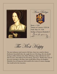 Anne Boleyn Second consort of King Henry VIII Marriage was annulled and she was executed by beheading.