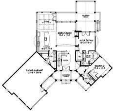 Craftsman plan - nice covered porch out back - Architectural Designs W23252JD