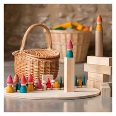 These Tomten Nins® conjure an image of a magical forest world where elves live. But look closer and you'll see wooden mushrooms for family games, bee hives for sorting and wooden counters for counting games. All handcarved in beautiful tactile wood. Wooden Building Blocks, Wooden Wagon, Water Based Stain, Wooden Counter, Natural Toys, All Toys, The Conjuring, Wooden Toys, Stuffed Mushrooms