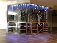 Custom design,build, and install wine cabinet w climate control, led package, wood and Metal wine racks Modern Design, Custom Design, Climate Control, Wine Cabinets, Wine Racks, Wine Storage, Wine Cellar, Wood And Metal, Building Design
