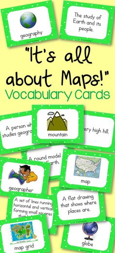 It's All About Maps! Geography Vocabulary Cards