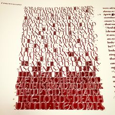 Corinthians Calligraphy in red ink.