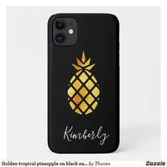 Golden tropical pineapple on black name iPhone 11 case Iphone 11, Apple Iphone, Iphone Cases, Iphone Accessories, Plastic Case, Pineapple, Christmas Gifts, Tropical