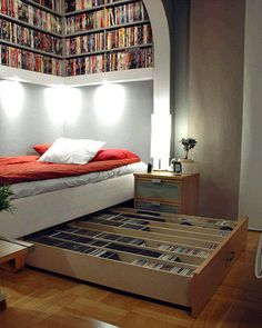 another library/bedroom - although I think I'd line that bed with cushions to make a sitting space, too