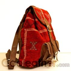 Leather Backpack   Home > Leather Backpacks > Brown Leather Backpack with a Unique Red ...