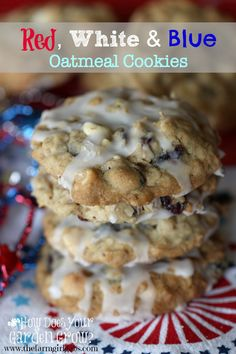These patriotic Red, White & Blue Oatmeal Cookies are perfect to bring to a holiday party. This easy cookie recipe feeds a crowd too.