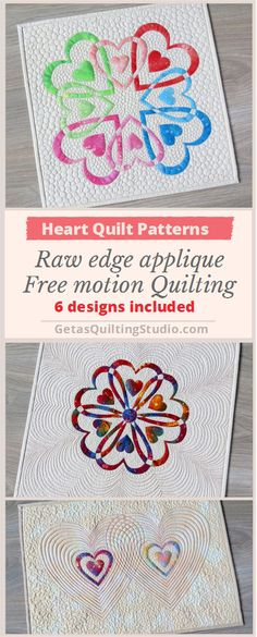 Heart quilt patterns for fast, fun and easy quilts; 6 different designs are included. via @getagrama                                                                                                                                                                                 More