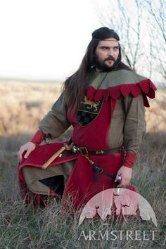 "Medieval Male Tunic, Hood and Surcoat ""The Return Of The Paladin""."