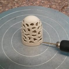 Drilling holes into the outer layer so you can see the inside! #ceramics #keramik #porzellan #porcelain #design #industrialdesign #ручнаяработа #handmade #handmadeceramics #pottery #керамикаручнойработы #фарфор by miezeljotschek