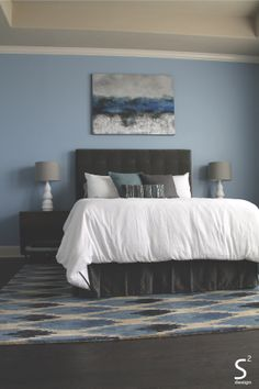 Modern Blue Master Bedroom White Linens Grey Tufted Headboard Blue walls - S Squared Design