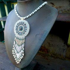 """Yolanda"" necklace - copper filigree, TOHO, Preciosa and Matubo seed beads"
