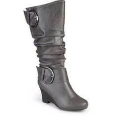 Brinley Co. Women's Wide Calf Buckle Tall Faux Leather Boots, Size: 7.5, Gray