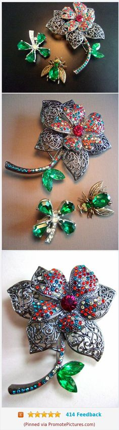 Green Red Rhinestone Brooch-Pin Lot, 3 Pieces, Flowers & Bug, Vintage #brooch #pins #lot #3pcs #rhinestone https://www.etsy.com/renaissancefair/listing/529104883/green-red-rhinestone-brooch-pin-lot-3?ref=listings_manager_grid  (Pinned using https://PromotePictures.com)