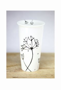 Ceramic Coffee Mug with silicone black lid - Queen Anne's Lace Design  Black Botanical Minimalist Modern Eco Friendly Decorative Unique Art. $35.00, via Etsy.